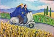 figure-il-marchesino-frescobaldi-ed-ilnutini-in-vespa-acrilico-su-tela-50x60